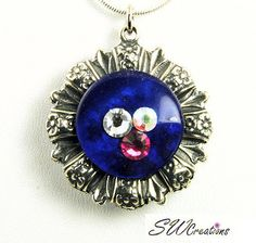 Reversible Blue Aqua Crystal Fusion Button Pendant