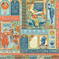 Graphic 45 World's Fair Wonder Works Scrapbook Paper 2 Pcs | eBay