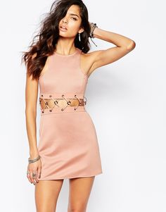 Image 1 of The Laden Showroom X Rok & Rebelle Mini Dress With Lace Up Detail