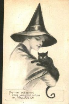 Vintage witch and black cat