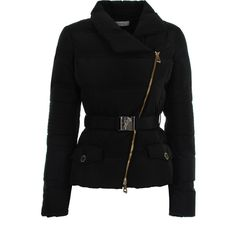 Versace Collection Belted Down Jacket ($355) ❤ liked on Polyvore featuring outerwear, jackets, coats, versace, zipper jacket, tailored jacket, slim fit jackets, zip jacket and down jacket
