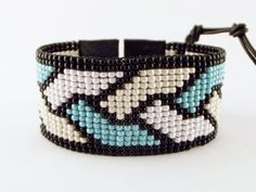 Wide Indian bead loom bracelet with leather from Unycq by DaWanda.com