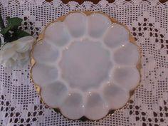 Vintage Milk Glass Gold Trim Scalloped Devil by ElegantSeashore