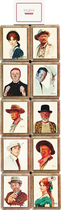 Stagecoach (20th Century Fox, 1966). Portrait Cards by Norman Rockwell (Stefanie Powers, Van Heflin, Red Buttons, Robert Cummings, Alex Cord, Keenan Wynn, Mike Connors, Slim Pickens, Bing Crosby, Ann-Margret)