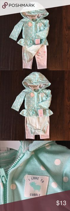 NWT Carters 3 piece set perfect for spring🌷 NWT Carters 3 piece set includes hoodie, onesie and pants.  Adorable detail on pants. 6 months. Carter's Matching Sets