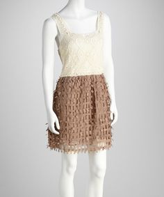 Take a look at this Coffee Crochet Dress & Chemise by Adore on #zulily today!