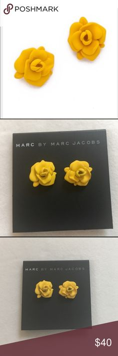 """MARC JACOBS JERRIE ROSE STUD EARRING BRIGHT YELLOW NWT MARC BY MARC JACOBS RUBBERIZED JERRIE ROSE STUD EARRING BRIGHT YELLOW  TOTALLY SOLD OUT Yellow is THE color for Spring / Summer 2017 and these gorgeous earrings offer the perfect pop of this stunning color 1.3"""" Disc bullet closure Brass, zinc, silver Imported VERY RARE Marc by Marc Jacobs Jewelry Earrings"""