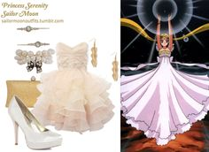 Like Sailor Moon Outfits on Facebook! Requested by: Anonymous Lipsy VIP prom embellished dress in Champagne Forever 21 iridescent hair pin set in Clear/Multi Forever 21 tiered arrow earrings in Gold Forever 21 bow detail bracelet Dorothy Perkins ivory satin court shoes A Wear gold glitter box clutch