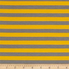 "Riley Blake Knit 1/2"" Stripes Gray/Yellow from @fabricdotcom  From Riley Blake Fabrics, this lightweight stretch cotton jersey knit fabric features a smooth hand and four way stretch for added comfort and ease. With 50% stretch across the grain and 25% vertical stretch, it is perfect for making t-shirts, leggings, loungewear, yoga pants and more! It features printed horizontal stripes."