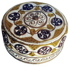 b8e9c86806f Mens Kufi Muslim Embroidery Kufi Hat koofi Boys kofi Topi Cap White Gold  Rust 03  Handmade  Embroidered