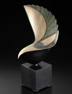 "*Wood Sculpture - ""Piwakawaka"" (New Zealand Fantail) by Rex Homan (kauri, painted aluminum base)"