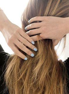 Le Fashion Blog Nail Inspiration Light Blue Nails Summer Manicure Via Garance Dore