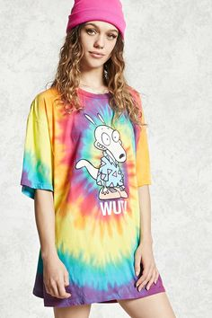 """A knit tee featuring a tie-dye wash with a Rocko's Modern Life """"Wut!"""" front graphic, a round neck with short sleeves and longline silhouette."""
