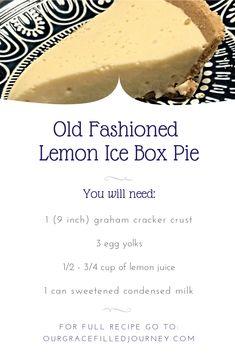 Altmodische No-Bake Lemon Ice Box Pie. Old Fashioned No-Bake Lemon Ice Box Pie. Only 4 ingredients! Altmodische No-Bake Lemon Ice Box Pie. Summer Dessert Recipes, Lemon Desserts, Köstliche Desserts, Delicious Desserts, Drink Recipes, Pudding Desserts, Easy Pie Recipes, Lemon Recipes, Cooking Recipes
