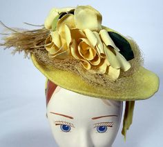 Vintage New York Creation Yellow Rose of Texas Small Cocktail Tilt Hat Fascinator