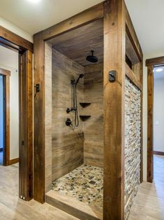 Beautiful And Sensational Rustic Stone Tile Bathroom Pictures & Ideas - HomyBuzz Rustic Master Bathroom, Master Bathroom Shower, Rustic Bathroom Designs, Small Rustic Bathrooms, Log Cabin Bathrooms, Shower Remodel, Bath Remodel, Dream Bathrooms, Beautiful Bathrooms