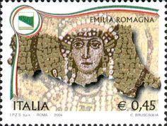 """2004 - """"Regioni d'Italia"""": Emilia Romagna - stemma e un particolare dei mosaici bizantini che decorano l'abside della Chiesa di San Vitale, in Ravenna, raffigurante l'imperatrice Teodora, moglie di Giustiniano."""