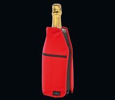 Cilio Kühlmanschette rot und schwarz - Kühlmanschette: flexible Kühlmanschette für Wein- und Sektflaschen, die sich im gefrorenen Zustand problemlos der Flasche anpasst, kühlt Getränke innerhalb von 5 Minuten und hält diese stundenlang kühl, mit praktischer Seitentasche, Breite 15 cm - Höhe 2