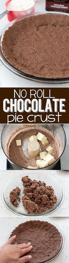 This No Roll Chocolate Pie Crust has been 5 years in the making. Why did I wait so long?? I'm not joking – I've been thinking about making a chocolate pie crust for years, but I've never gotten aroun