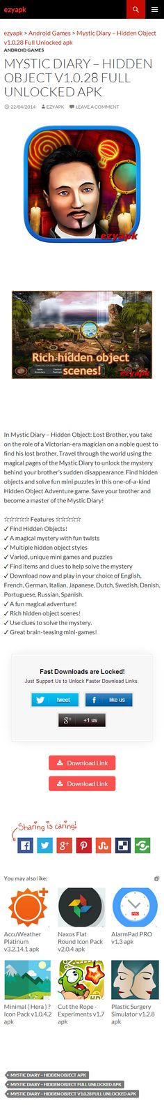 Android Games Mystic Diary – Hidden Object v1.0.28 Full Unlocked apk - ezyapk In Mystic Diary – Hidden Object: Lost Brother, you take on the role of a Victorian-era magician on a noble quest to find his lost brother. http://www.ezyapk.com/android-games/mystic-diary-hidden-object-v1-0-28-full-unlocked-apk/