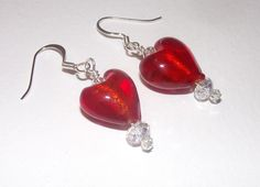 Red Glass Heart and Crystal Earrings for Pierced Ears by susansarttreasures on Etsy