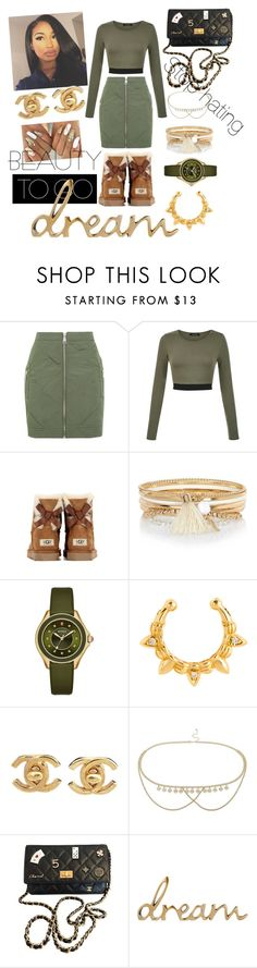"""Feelin Chill"" by melainemcq ❤ liked on Polyvore featuring Topshop, UGG Australia, River Island, Michele, Pamela Love, Chanel and Miss Selfridge"