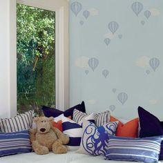 Hot Air Balloon Blue Peel & Stick Fabric Wallpaper