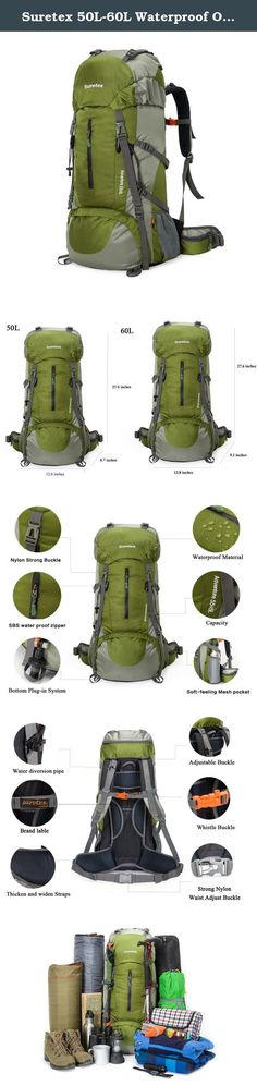 Suretex 50L-60L Waterproof Outdoor Sport Hiking Trekking Camping Travel Backpack Pack Mountaineering Climbing Knapsack with Rain Cover (Army green, 50L). Capacity 1、There are 1 front pocket 2 mesh pocket 1top pouch 2 hip pouch and 1 rain cover. 2、Hip pouch with a mobile phone and small items. Product feature Brand: Suretex; Gender:Unisex; Frame:detachable suspension carry system ; Waterproof cover: rain cover ; Product Parameters Capacity: 50 L & 60 L Fabric: High-quality water resistant...