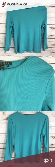 LRL Teal Cotton Long Sleeve Shirt Medium Lauren Ralph Lauren Long Sleeve 100% Cotton Shirt in Teal   Measures: 18 1/2 inches across chest from armpit to armpit Length: 22 inches from back of neck to hemline. Lauren Ralph Lauren Tops Tees - Long Sleeve