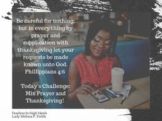Women of Faith smash the debilitating voice of fear with the dynamic duo of prayer and thanksgiving. Be Careful For Nothing, Women Of Faith, Prayers, High Heels, Thanksgiving, Let It Be, High Heeled Footwear, Thanksgiving Tree, Prayer