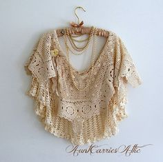 Edwardian Shawl Poncho All Vintage Two Layers by auntcarriesattic, $150.00