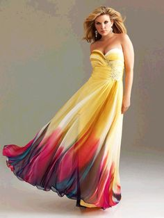 Yellow & Fuchsia Ombre Chiffon Strapless Sweetheart Empire Waist Prom Dress - Unique Vintage... not a bad idea for the bridesmaids