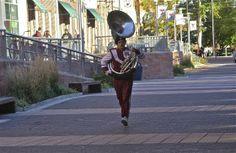 Full stride; Diamond Marching Band; Temple University; Philadelphia, Pennsylvania, USA.  October 2013.