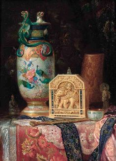 vcrfl:  Ludwig Augustin: Oriental treasures on a draped table.Oil on panel, 31.8 × 24.1cm.