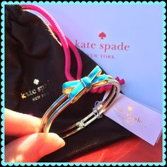 """NEW Kate Spade bow bangle bracelet New, never worn. Turquoise color. Double bow style. Interior diameter is 17cm (almost 6.75""""). Very cute! And perfect for more petite wrists. Dust bag included kate spade Jewelry Bracelets"""