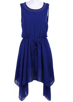 #SheInside beautiful blue color! Blue Sleeveless Rivet Drawstring Chiffon Dress