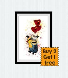 Despicable me 2 poster Minion watercolor print Minion in love colorful print Home decoration Wall hanging art Kids room decor Gift art W228