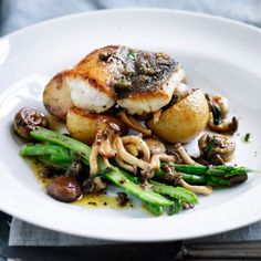 Snapper Fillets with Sauteed Mixed Mushrooms and Roasted Potatoes