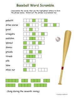printable baseball word scramble game elena pinterest words baseball and game. Black Bedroom Furniture Sets. Home Design Ideas