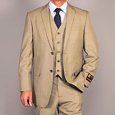@Overstock - This teakweave olive vested suit by Giorgio Fiorelli features a two-button, single-breasted design with a classical tailored fit. The flat front trousers come with an unfinished hem to allow for the perfect, customized fit.  http://www.overstock.com/Clothing-Shoes/Giorgio-Fiorelli-Mens-Olive-Teakweave-3-Piece-Vested-Suit/6677978/product.html?CID=214117 $129.99