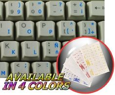 SPANISH (TRADITIONAL) KEYBOARD STICKER WITH BLUE LETTERING TRANSPARENT BACKGROUND FOR DESKTOP, LAPTOP AND NOTEBOOK by 4Keyboard, http://www.amazon.com/dp/B003AAD4F0/ref=cm_sw_r_pi_dp_x7Rrqb1M14KNZ