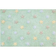 Alfombra infantil Estrellas tricolor menta claro