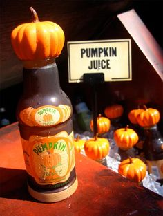Pumpkin juice from the Wizarding World of Harry Potter theme park in Orlando, Florida. After you drink it you get the nice bottle with a cool pumpkin shaped lid to keep.