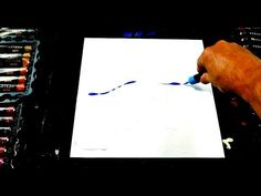 Simple step by step painting - blue tree - acrylic paint, pallet knife, ...