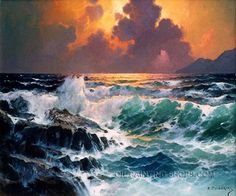 """Hand Painted Framed Paintings Reproduction Seascape Oil Painting, Size: 36"""" x 24"""", $104. Url: http://www.oilpaintingshops.com/hand-painted-framed-paintings-reproduction-seascape-oil-painting-2523.html"""