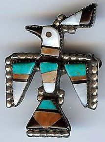 VINTAGE ZUNI INDIAN STERLING SILVER INLAID CORAL TURQUOISE ONYX THUNDERBIRD PIN