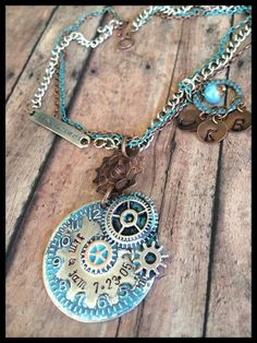 Personalized Hand Stamped Steampunk Necklace ~Clock~ Gears~ Rustic~Time is What you Make of it. Initials, Monogram