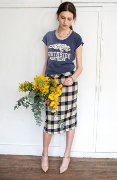 Tee and check pencil skirt
