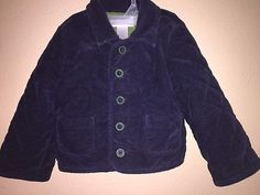 Janie & Jack 12-18 Mo Dashing Special Occasion Blue Velvet Quilted Jacket Coat