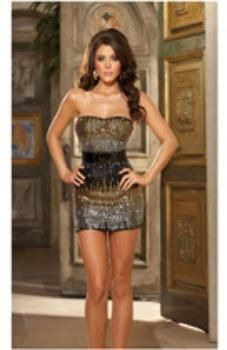 Hanging Unique Ombre Sequin Strapless Dress, Belt, & Thong Black in ladies apparels, lifeenjoyablesolutions.com